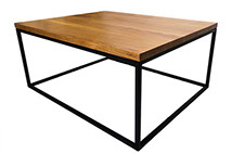 Solid Oak Top Black Frame Coffee Table