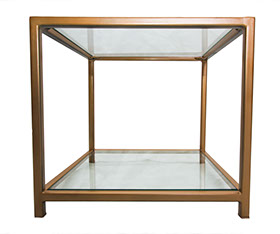 Glass Top & Botton Shelf  Gold Metal Frame Side Table