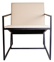 White Leather Gravity Seat  Black Arched Style Chair