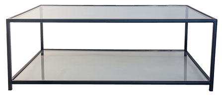 Glass Top U0026 Bottom Shelf Black Metal Coffee Table