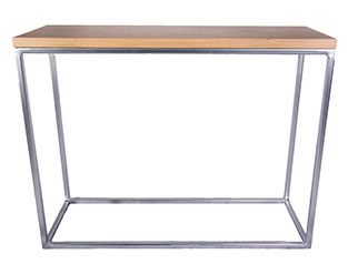 Solid Oak Top Shelf  Chrome Effect Frame Console Table