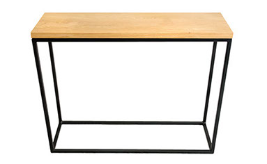 Solid Oak Top   Black Frame Console Table