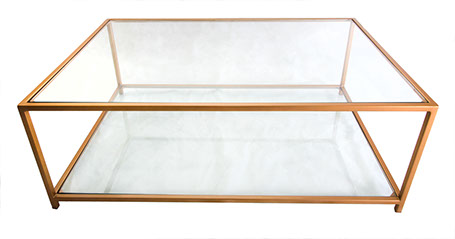 Glass Top & Bottom Shelf  Gold Frame Coffee Table