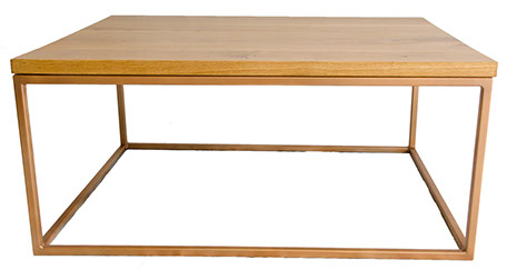 Solid Oak Top Gold Frame Coffee Table