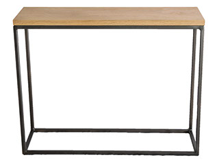 Solid Oak Top Shelf Gun Metal Grey Frame Console Table
