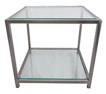Glass Top & Bottom Shelf Gun Metal Grey Side Table