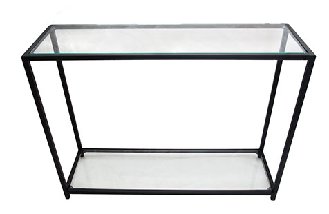 Glass Top & Bottom Shelf  Black Frame Console Table