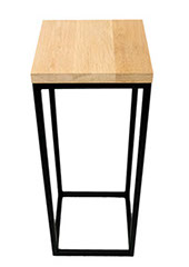 Solid Oak Top   Black Frame Hall Table