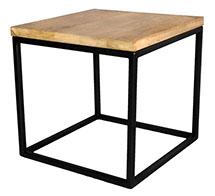 Solid Oak Top Black Frame Side Table