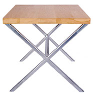 Oak Top Shelf  Chrome Effect X Side Table