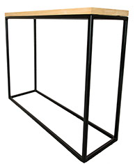 Oak Top  Black Frame Console Table