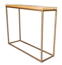 Oak Top Gold Frame Console Table