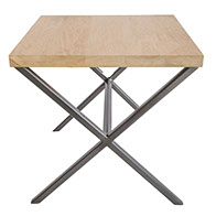 Oak Top  Gun Metal Grey X Side Table