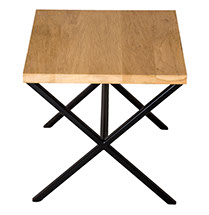 Solid Oak Top Black Frame X Side Table