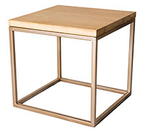 Solid Oak Top Gold Frame Side Table