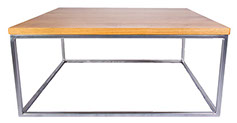Oak Top  Chrome Effect Coffee Table