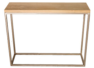 Oak Top  Gold Frame Console Table - Andrew McQueen Furniture