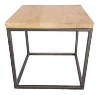 Oak Top Gun Metal Grey Side Table