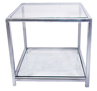 Glass Top & Bottom Shelf Chrome Effect Side Table