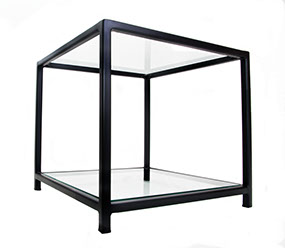 Glass Top & Botton Shelf Black Metal Frame Side Table